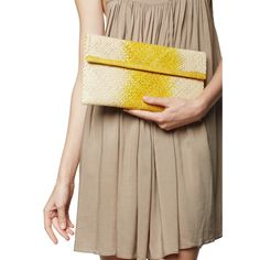Ombre Woven Clutch. Yellow
