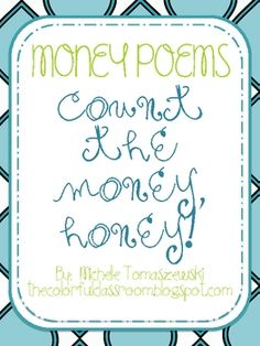 Money Poems/Songs for teaching US currency  - FREE download from TPT