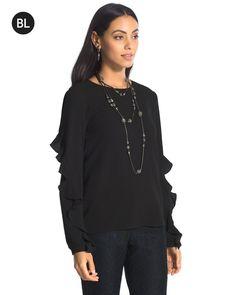Chico's Women's Black Label Flounce-Sleeve Top