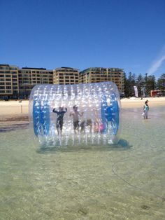 Adelaide Ballzup Beach Zorbing With Kids O Adelaides Beaches Glenelg Water Fun