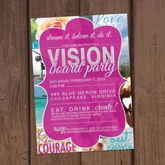 Vision Board Party Invitation by Aurora Graphic Studio's Invitation Line: Aurora Invited https://www.etsy.com/listing/217757373/vision-board-party-invitation