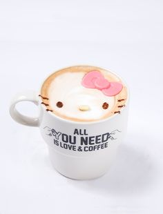 :) Official Hello Kitty cafe opens in Tokyo by Danny Kichi on Tue, Nov 2014 Coffee Art, My Coffee, Kitty Cafe, Hello Kitty Items, Time Kids, New Details, Latte Art, Cute Food, Grand Opening
