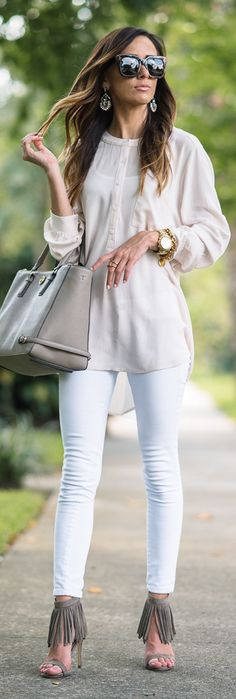 Long Lush Blouse + Sequin Heels / Fashion By Sequin And Things