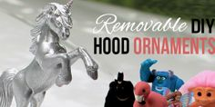 If you like girly car accessories you're gonna love these removable DIY hood ornaments made from small toys & other light weight objects. Disney Cars Birthday, Car Accessories Diy, Girly Car, Hood Ornaments, Diy Christmas Gifts, Burlap Christmas, Diy Organization, Bottle Crafts, Blog