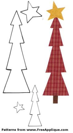 Christmas Patterns for Applique - Angels, Christmas Trees Christmas Tree Template, Christmas Applique, Christmas Tree Pattern, Free Christmas Printables, Christmas Sewing, Free Applique Patterns, Applique Templates, Applique Quilts, Felt Patterns