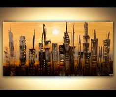 Original abstract art paintings by Osnat - abstract skyscrapers city painting