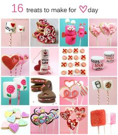 A roundup of easy treats to make for Valentine's Day, including decorated cookies and marshmallow pops.