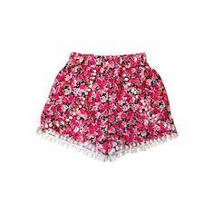 Pom Pom Ball Fringe Shorts ($26) ❤ liked on Polyvore