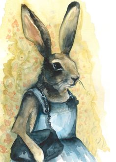 Aunt Bunny  Rabbit Art  large print by amberalexander on Etsy, $30.00