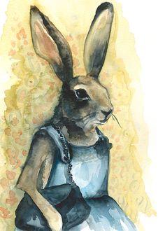 Tante Bunny  konijn Art grote print van amberalexander op Etsy