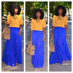 Bold color combination! Sheer cobalt maxi and a creamy orange sweater. Great transition into fall