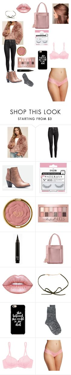 """""""Blushing 💋"""" by petalsonaflower ❤ liked on Polyvore featuring Somedays Lovin, H&M, JustFab, eylure, Milani, Maybelline, Lime Crime, DOSE of ROSE, Caso and Enföld"""