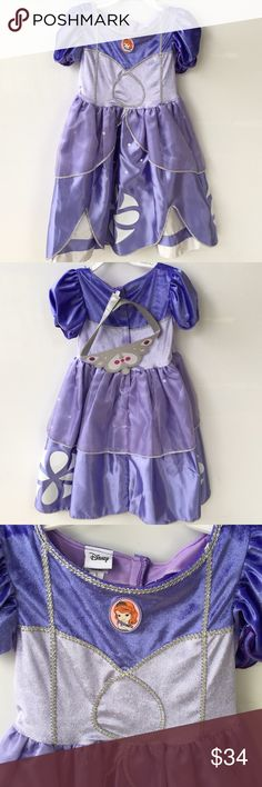 Princess Sofia Toddler Girls Halloween Costume 3T Disney Princess Sofia The First Toddler Girls Halloween Costume Gown Purple With Satin Crown   includes: • 1x Dress • 1x Satin Crown  Size: 3T Weight: 30-33 lbs   Material: Polyester Costumes Halloween