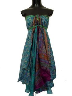 Beautiful wrap dress made from silk Sari fabric