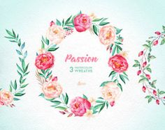Passion 3 Watercolor Wreaths, hand painted clipart, peonies, floral wedding invite, pink, greeting card, diy clip art, flowers, hawthorn