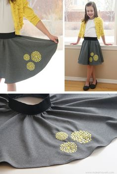 Embroidered Circle Skirt (a sewing tutorial for Bernina's 'We All Sew'), Could this be a fun and casual 'Big Girl' skirt? maybe made from a t-shirt? Sewing Projects For Kids, Sewing For Kids, Baby Sewing, Diy Clothing, Clothing Patterns, Sewing Kids Clothes, Diy Mode, Little Girl Dresses, Diy Fashion