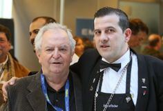 Three-star Chef Juan Mari Arzak and mixologist Manuel Isoler at Madrid Fusion 2014. Photo by Gerry Dawes©2014 / gerrydawes@aol.com / Facebook / Twitter / Pinterest.  Canon 5D Mark III / Canon 70-200mm f/4L USM with Canon 1.4 Telextender.