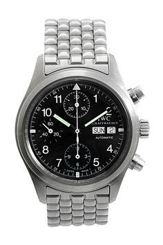 Vintage IWC Men's Flieger Chronograph Stainless Steel Watch on HauteLook