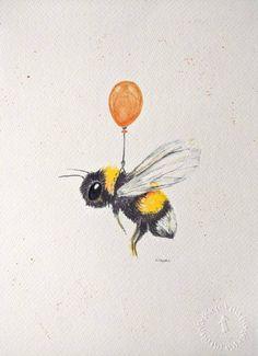 Bumble Bee Tattoo, Bee Sketch, Bee Painting, Ballon Painting, Cute Bee, Bee Art, Watercolor Art, Art Drawings, Animal Drawings