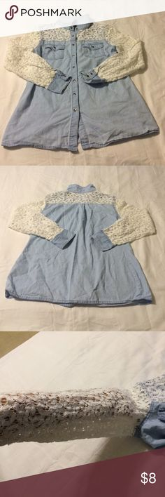 Cato long sleeve top Very cute denim type long sleeve button down shirt. Sleeves have lace all down arm. And lace covering denim on top of chest. 2 front pockets. Cato Tops