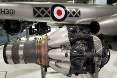 Rolls-Royce Derwent 8 jet engine with 1951 Gloster Meteor Military Jets, Military Aircraft, Rolls Royce Engines, Gloster Meteor, Post War Era, Jet Engine, Aircraft Design, Royal Navy, Airplane