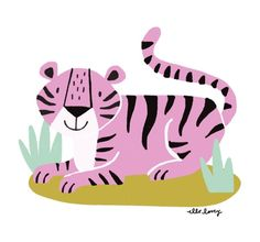 """Draw Tigers A sweet tiger for day prompt """"wildlife."""" I feel like taking a cue from this guy and laying in the sun. Cute Animal Illustration, Character Illustration, Animal Illustrations, Zoo Art, Big Cats Art, Kids Graphics, Tropical Animals, Cute Tigers, Creature Design"""