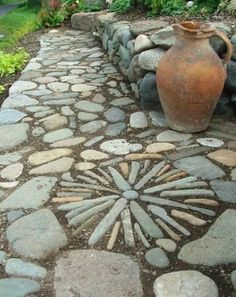 Garden path made of pebbles