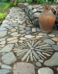 Garden path made of pebbles