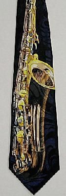 SAXOPHONE MUSIC TIE (COMES IN NAVY BLUE BACKGROUND)