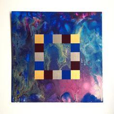 coulures - Lea Burrot  #leaburrot #wood #acryliconwood #colour #lovecolour #art #arty #artinberlin #berlin #artist #optic #opart #shapes #abstract #abstractart #contemporaryart #leaburrot #blurred #liquid #acrylic #acrylicpaint #liquidpaint #squares #blue #red #gold #silver #contrast