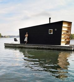 Floating Houses // A tiny weird-shaped house on a barge exists. Floating House, Floating Shelves, Tiny House Movement, Saunas, Little Houses, Interior And Exterior, Design, Tiny Homes, Houseboats