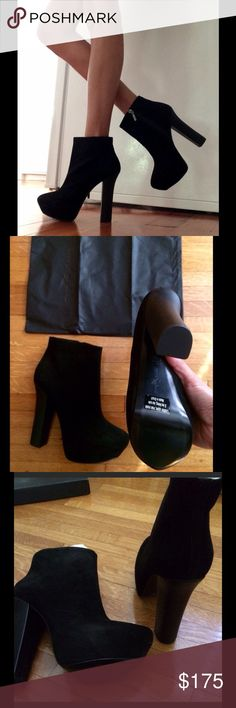 Report Signature black suede booties ✨💖✨ NEW Report Signature black suede Layton2 booties, size 10M, in original box with dust bag, 5 inch heels, made in Brazil, never worn, pair with a hot dress or sleek leggings, a must have for any GNO! Report Signature Shoes Ankle Boots & Booties