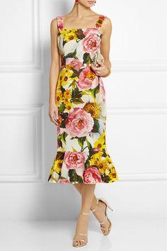Dolce & Gabbana|Floral-print textured stretch-cotton dress|NET-A-PORTER.COM