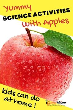 Yummy apple science experiments for kids to learn scientific method and inquiry. Fun kitchen STEM science activities for preschool to grade 6, at home, school or homeschool science class. Fall Science activity ideas Stem Science, Science Experiments Kids, Science For Kids, Science Activities, Stem Learning, Scientific Method, Play To Learn, Kids House, Cool Kitchens