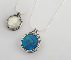 Sterling Silver Round Bilateral Mop & Abalone Pendant Necklace