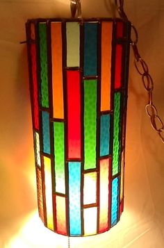 Leaded Glass Hanging Swag Light by SiggyParkers on Etsy, $169.00