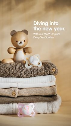 Waving the old year goodbye and wishing for a better and more positive one to come! ✨ At least, with our Original Deep Sea Soother, the change from the old to the new year will go smoothly and in the most comfortable way. ☺️ Happy new year! 🎆 Baby Supplies, Natural Rubber, Deep Sea, Dimples, Old Things, Teddy Bear, Change, The Originals, Happy