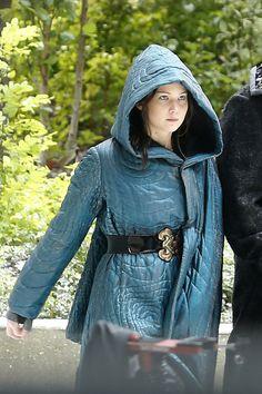 Jennifer Lawrence on the Mockingjay set