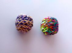 Thick Knit Ball Cat Toys For Kitten Play Cats / Optional Catnip & Bell / Made With Colorful Thick Yarns by oddballcattoys on Etsy