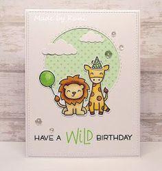 """Hallo Ihr Lieben, heute möchte ich euch eine Geburtstagskarte mit den süßen Tierchen aus dem Set """"Wild for you"""" von Lawn Fawn zeigen..."""