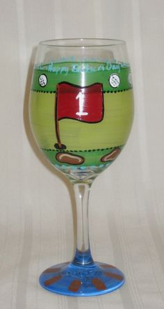 Looking for a one-of-a-kind gift? Check out Valorieo Art! This wine glass is the perfect gift for any golf-loving mom or dad! http://on.fb.me/1cUBJp2   #GolfersGrail #Wine #Art