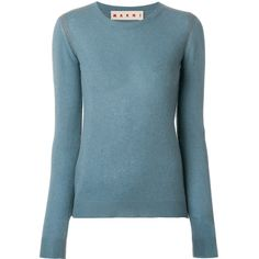 Marni cashmere crew neck sweater ($1,225) ❤ liked on Polyvore featuring tops, sweaters, blue, long sleeve sweater, fine knit sweater, marni sweater, blue top and blue crewneck sweater