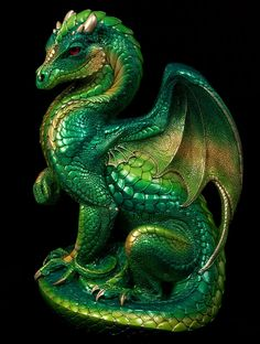 Secret Keeper Dragon - Emerald Painted Fantasy Dragon Statue. Show that special someone just how much you love them with huge gold dragon. Also the birthstone of May $1,000