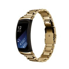 For Samsung Gear Fit 2 SM-R360, Lucoo Luxury Stainless Steel Bracelet Smart Watch Band Strap For Samsung Gear Fit2 SM-R360 (Gold 1) *** Special  product just for you. See it now! : Travel Gadgets