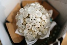 Button Bouquet at a Rustic Swedish Wedding | This is a great, inexpensive way to have a bouquet and show personality.