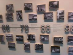 Combine printed backdrop, printed tiles and dimensional numbers to design a unique time line.: