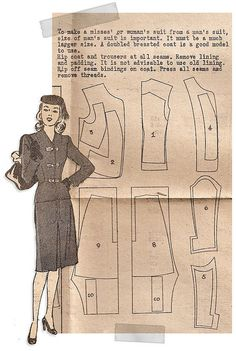 Pattern layout to cut a woman's suit from an old men's suit