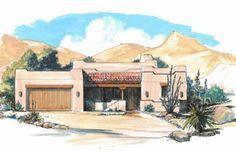 Adobe / Southwestern Style House Plan - 3 Beds 2 Baths 1790 Sq/Ft Plan #4-106 Exterior - Front Elevation - Houseplans.com