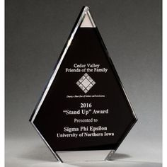 "Our Black Acrylic Flame Trophy features mirror accents at the top & bottom with a black area for laser engraving personalization. A7070 is 8"", A7071 is 9"" & A7072 is 10"" in size, all include free engraving!"