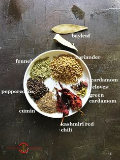 Kadai Masala ingredients on a white plate Veg Recipes, Indian Food Recipes, Vegetarian Recipes, Cooking Recipes, Easy Recipes, Smoker Recipes, Milk Recipes, Cooking Tips, Homemade Spices
